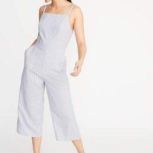Minimalist Linen Striped Jumpsuit